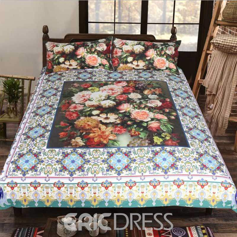 3D Colorful Flowers Printed Polyester 3-Piece Bedding Sets/Duvet Covers