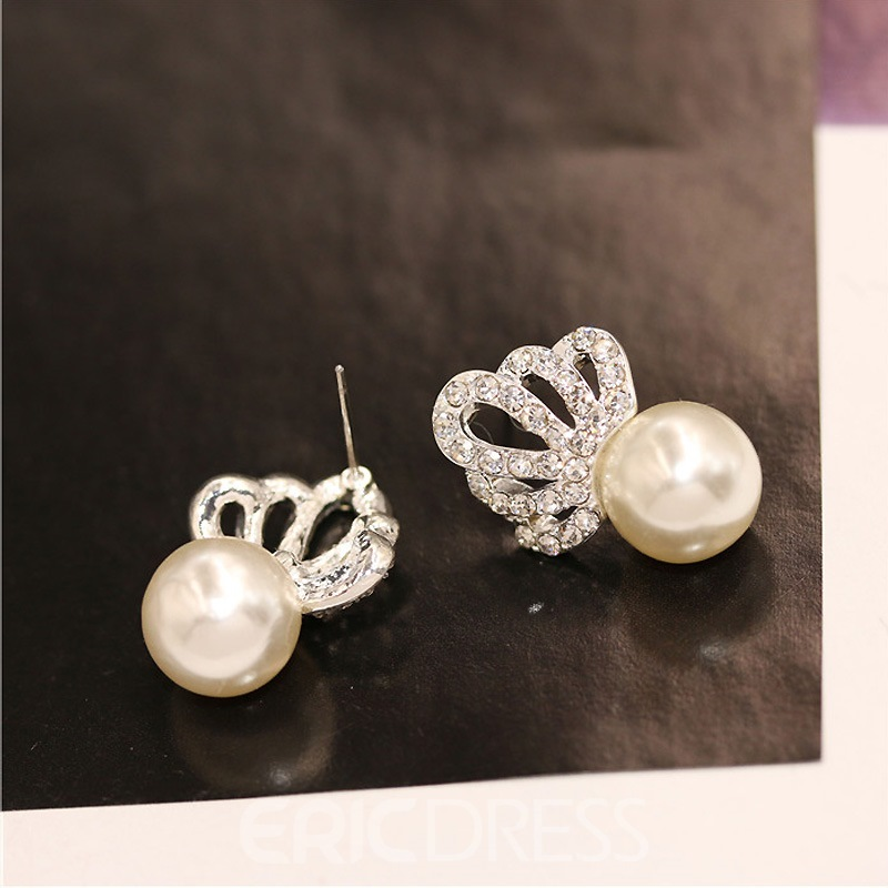 Ericdress Exquisite Crown Imitation Pearl Diamante Earring