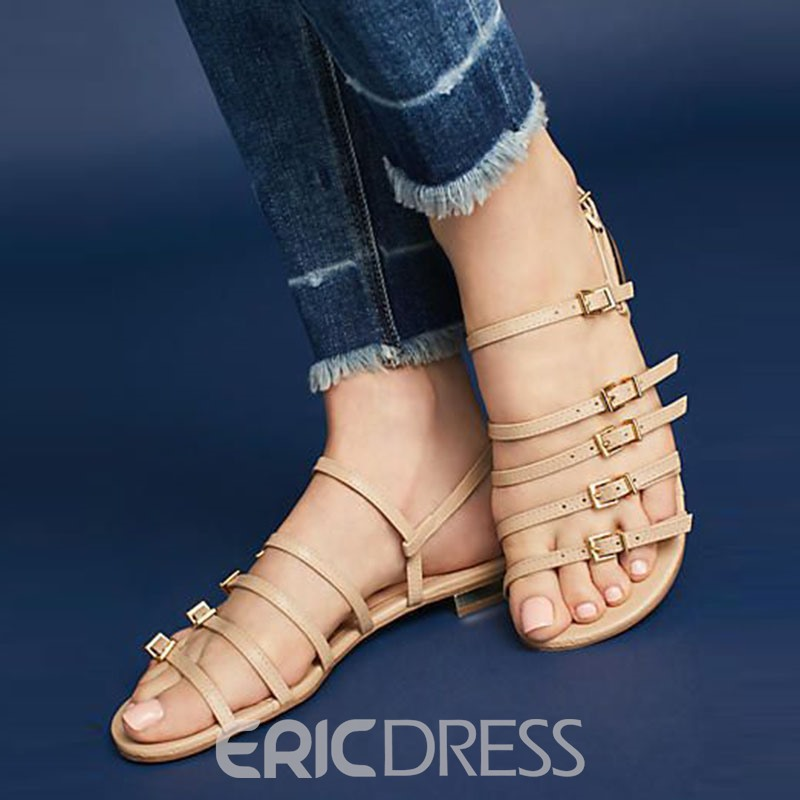 Ericdress Hasp Strappy Open Toe Flat Sandals
