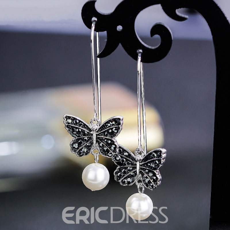 Ericdress Butterfly Shell Pearl Pendant Women's Earring