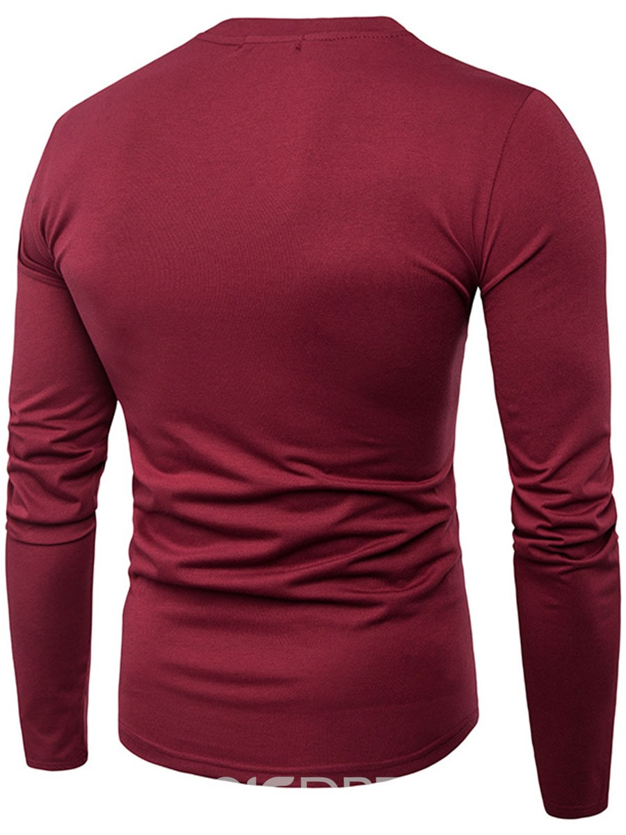 Ericdress Color Block Patched Long Sleeve Slim Men's T-Shirt