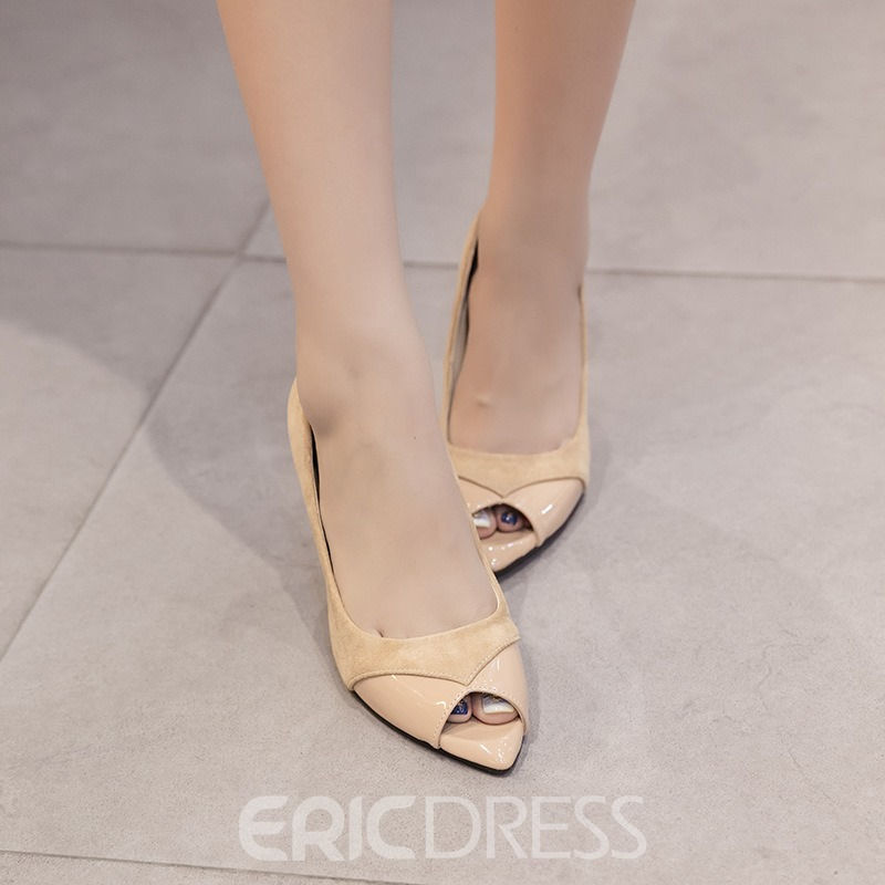 Ericdress Peep Toe Slip-On Stiletto Heel Pumps