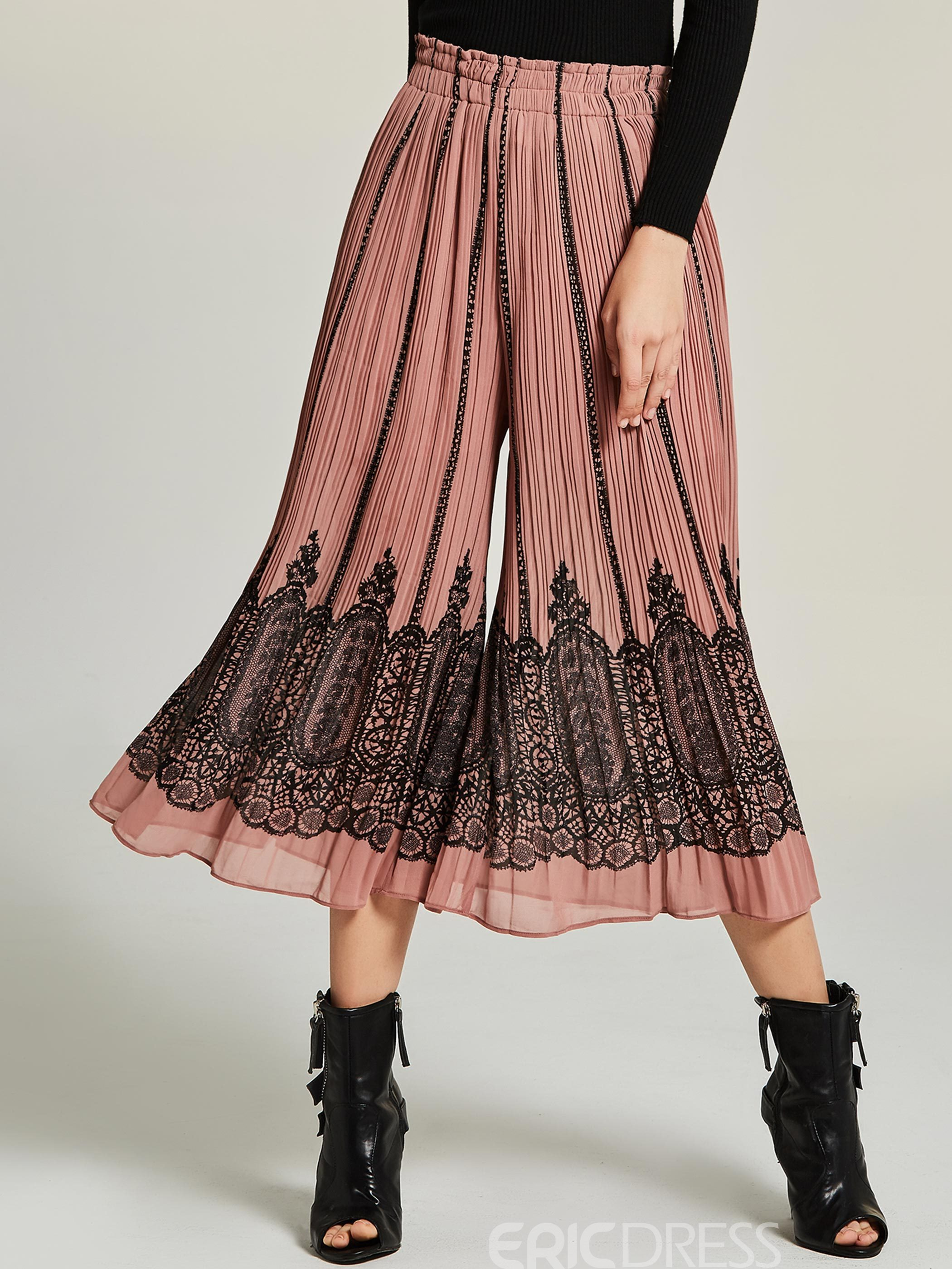 Bohoartist Loose Pleated Lace Patchwork Women's Culottes