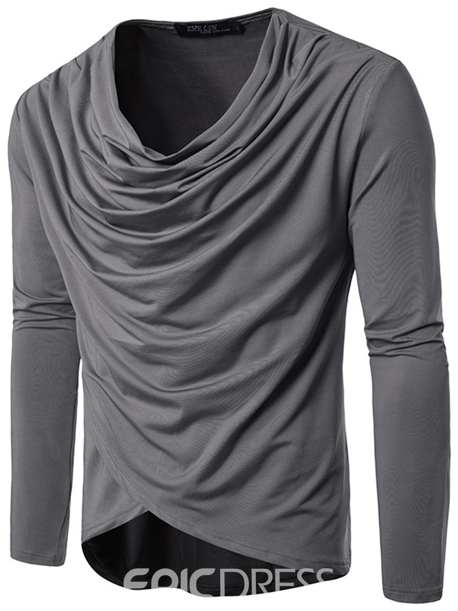 Ericdress Plain Hip-Hop Irregular Heap Collar Unique Men's T-Shirt