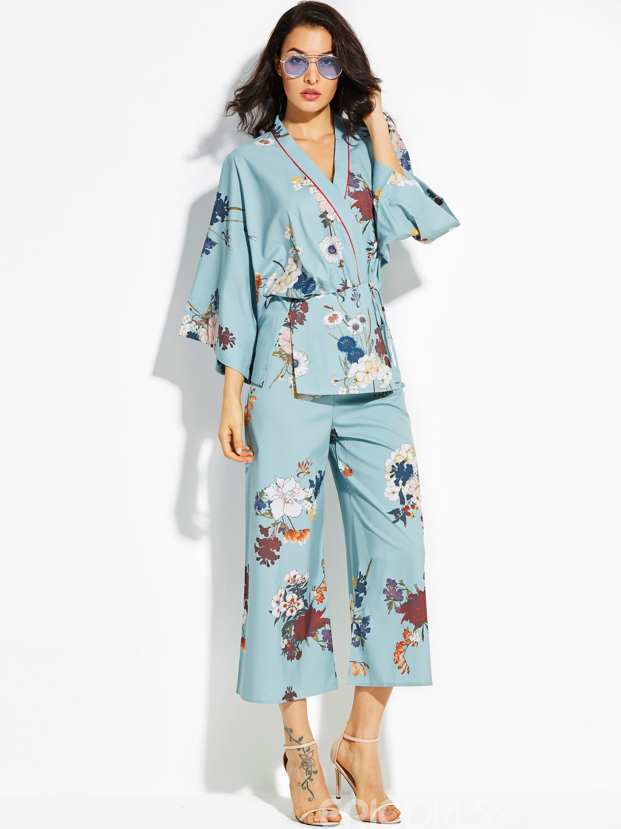 Ericdress Loose Flower Print Kimono Women's Coat