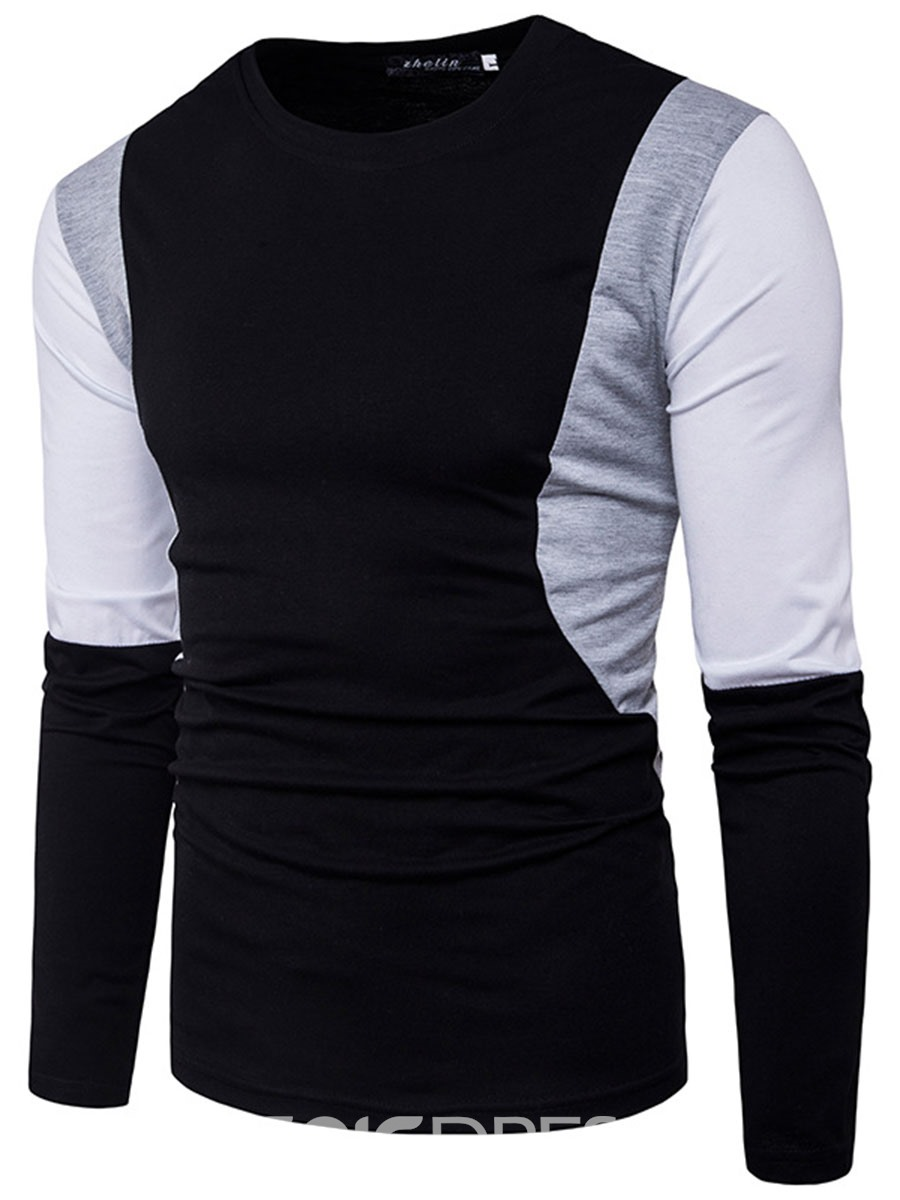 Ericdress Color Block Patched Crew Neck Casual Men's T-Shirt