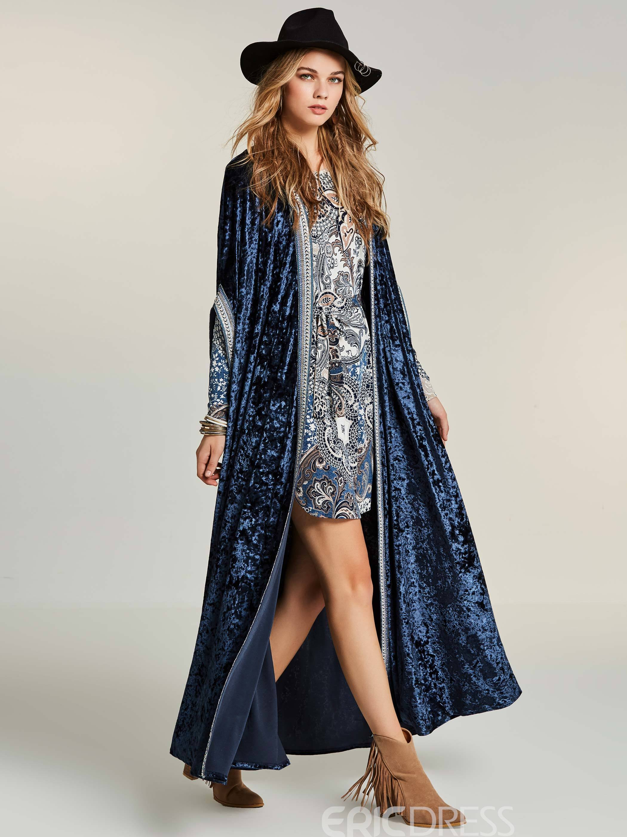 Ericdress Color Block Wrapped Long Coat