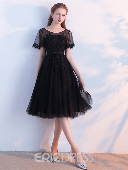 Ericdress A Line Short Sleeve Knee Length Homecoming Dress With Lace-Up Back