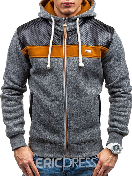 Ericdress PU Patched Zip Casual Men's Hoodie