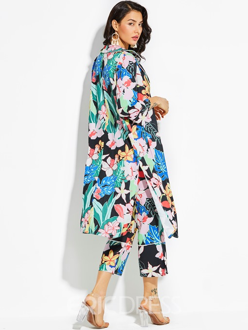 Ericdress Notched Lapel Color Block Flower Print Long Women's Shirt