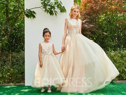 Ericdress Jewel Ball Gown Appliques Ankle-Length Flower Girl Party Dress