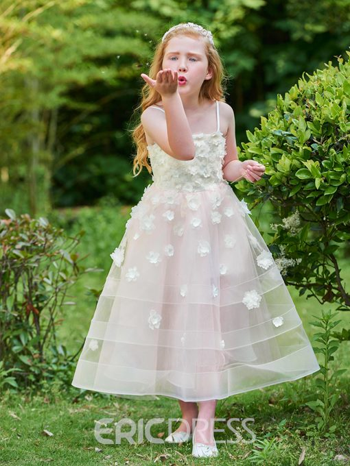 Ericdress Spaghetti Straps Ball Gown Ankle Length Flower Girl Party Dress