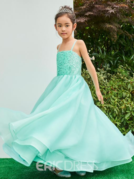 Ericdress Spaghetti Straps Ankle Length Ball Gown Flower Girl Party Dress