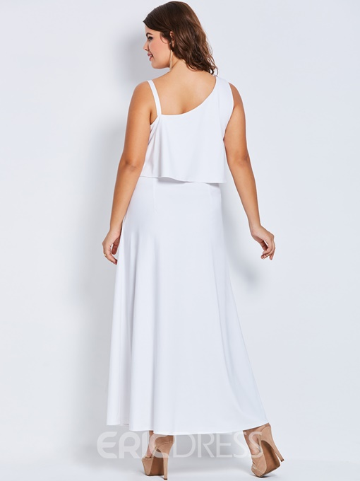Ericdress Oblique Collar Sleeveless Ankle-Length Plusee A-Line Dress
