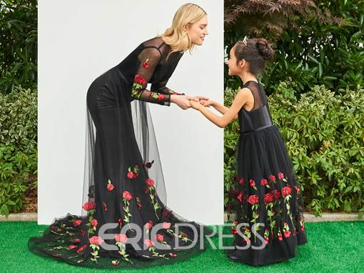 Ericdress Long Sleeve Embroidery Mermaid Parent-Child Evening Dress