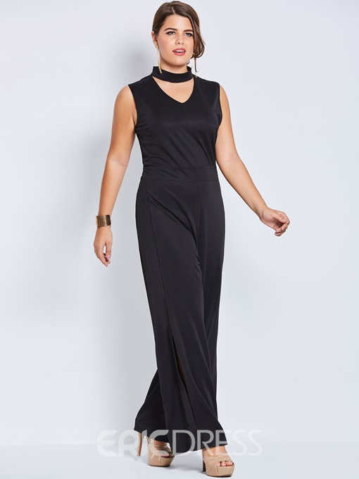 Ericdress Plain Slit Wide Leg Women's Jumpsuit
