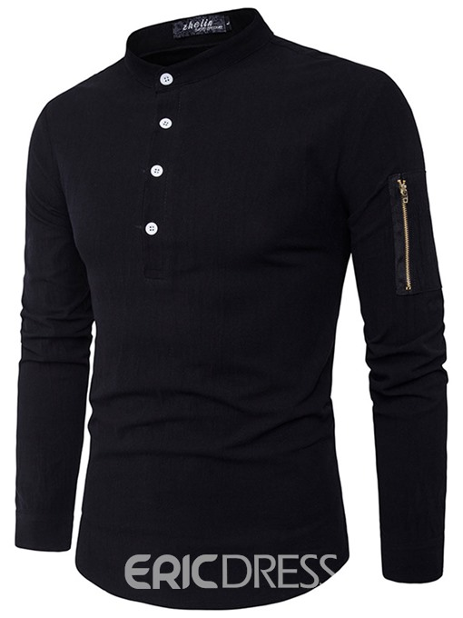 Ericdress Plain Zip Patched Stand Collar Slim Men's Shirt
