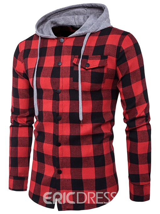 Ericdress Unique Hood Denim Plaid Casual Men's Shirt