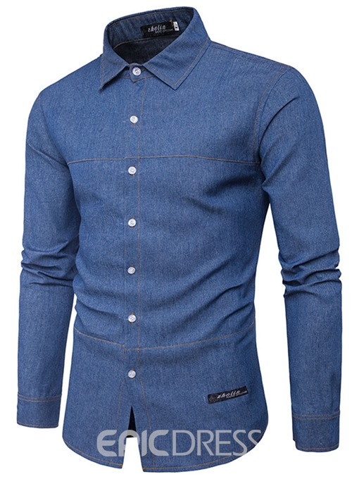 Ericdress Basic Plain Long Sleeve Denim Casual Men's Shirt