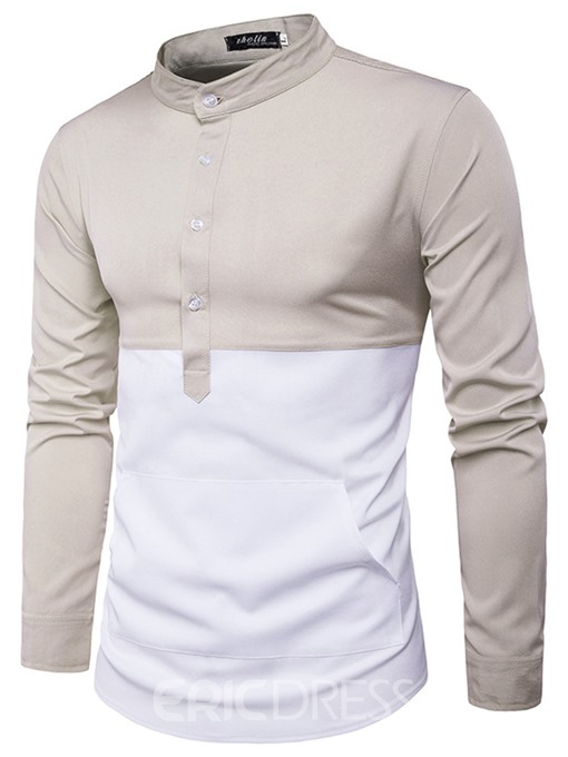 Ericdress Color Block Stand Collar Long Sleeve Men's Shirt