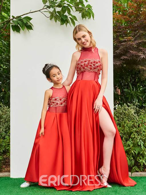 Ericdress Sequins Beaded Parent-Child Evening Dress With Slit