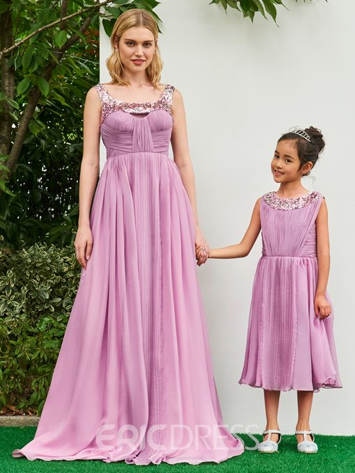 Ericdress Scoop A Line Tea Length Sequins Flower Girl Party Dress