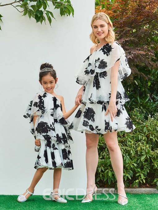 Ericdress A Line One Shoulder Layer Print Mini Parent-Child Evening Dress