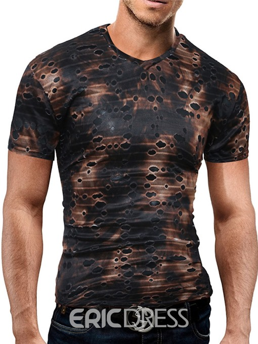 Ericdress Holes Slim Unique Short Sleeve Men's T-Shirt