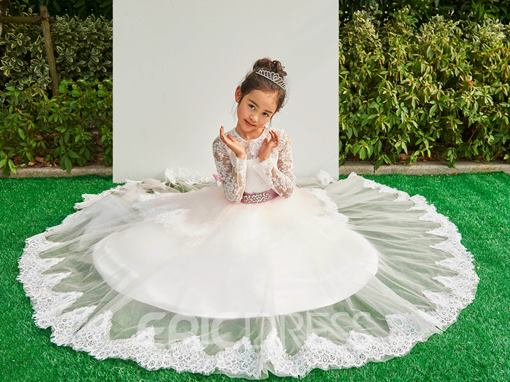 Ericdress Jewel Long Sleeves Appliques Tulle Flower Girl Dress
