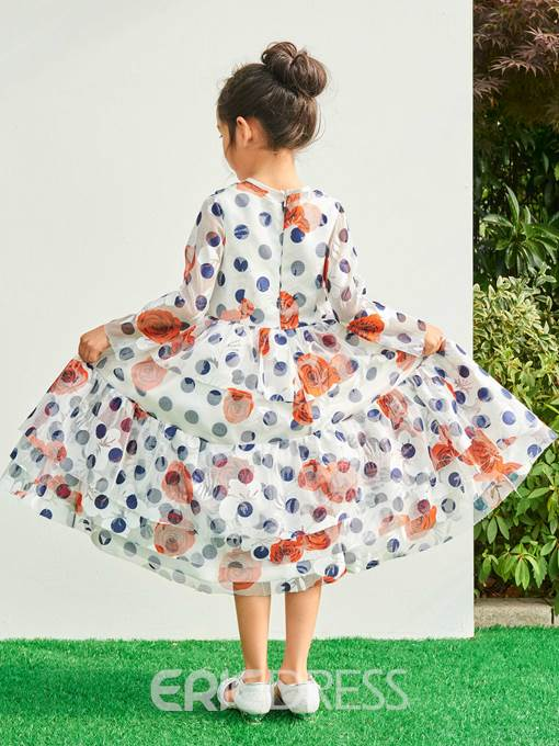 Ericdress Jewel A Line Long Sleeves Tea Length Print Flower Girl Party Dress