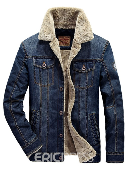 Ericdress Thicken Warm Denim Lapel Men's Winter Coat
