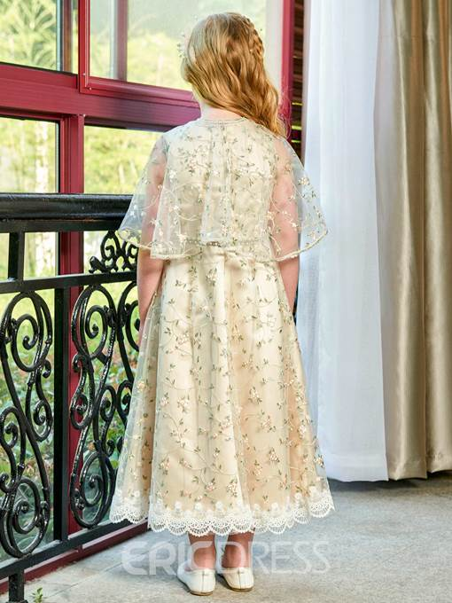 Ericdress Beading Lace Flower Girl Party Dress with Cape
