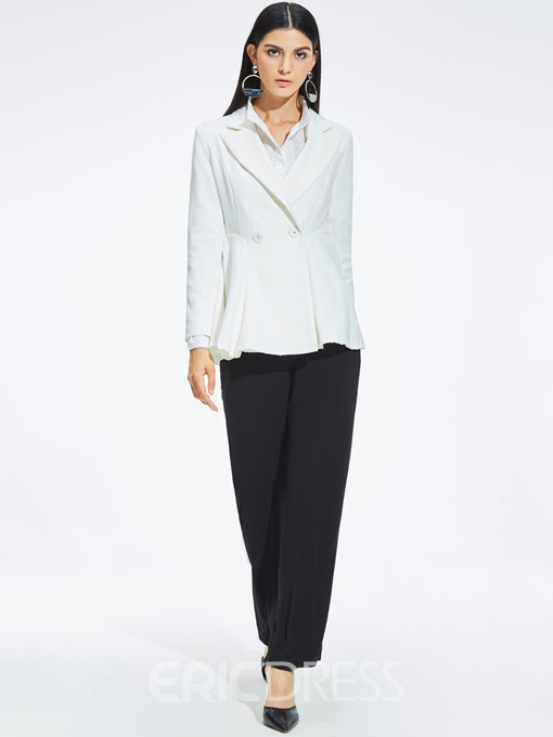 Ericdress Notched Lapel Plain Mid-Length Blazer