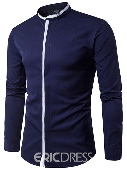 Ericdress Patched Stand Men's Shirt