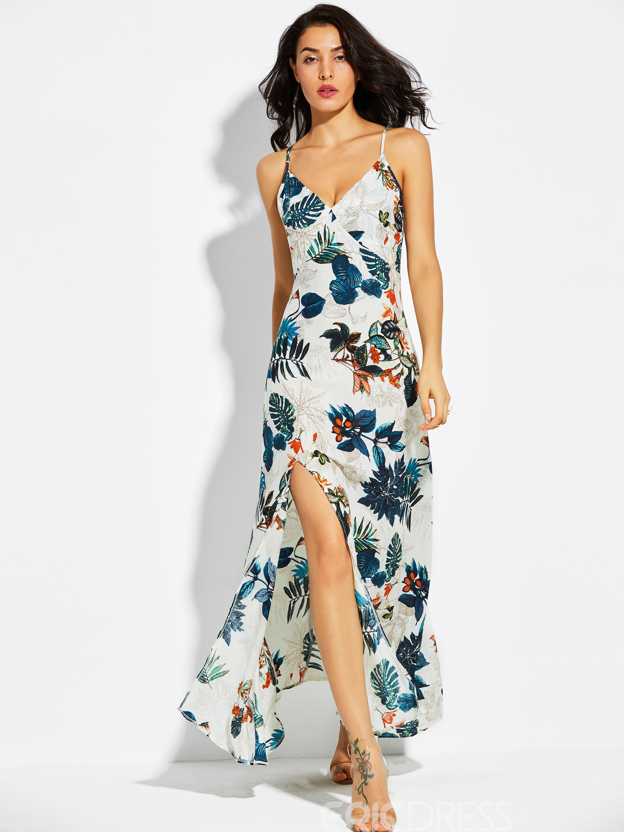 Ericdress V-Neck Spaghetti Strap Plant Print Maxi Dress