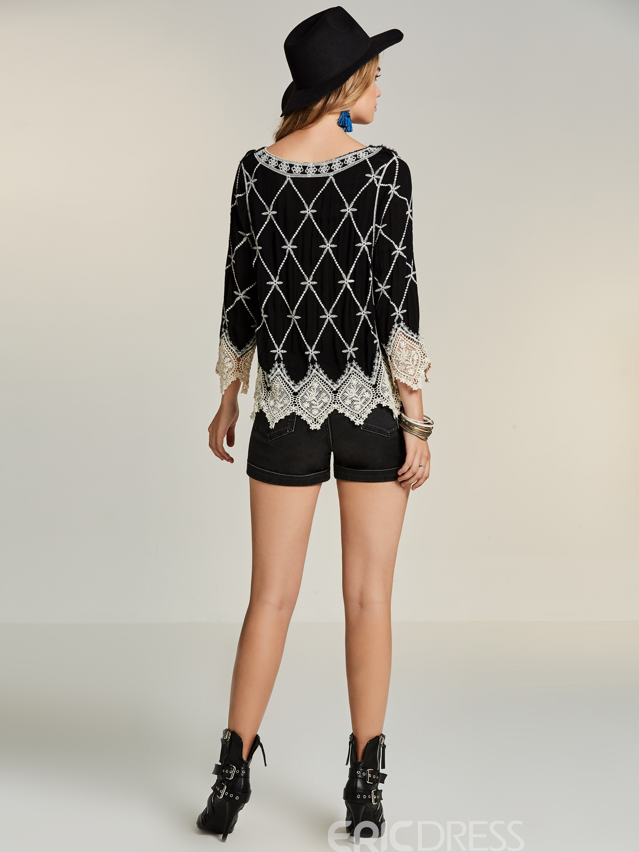 Ericdress Bohoartist Hollow Lace Embroideried Blouse