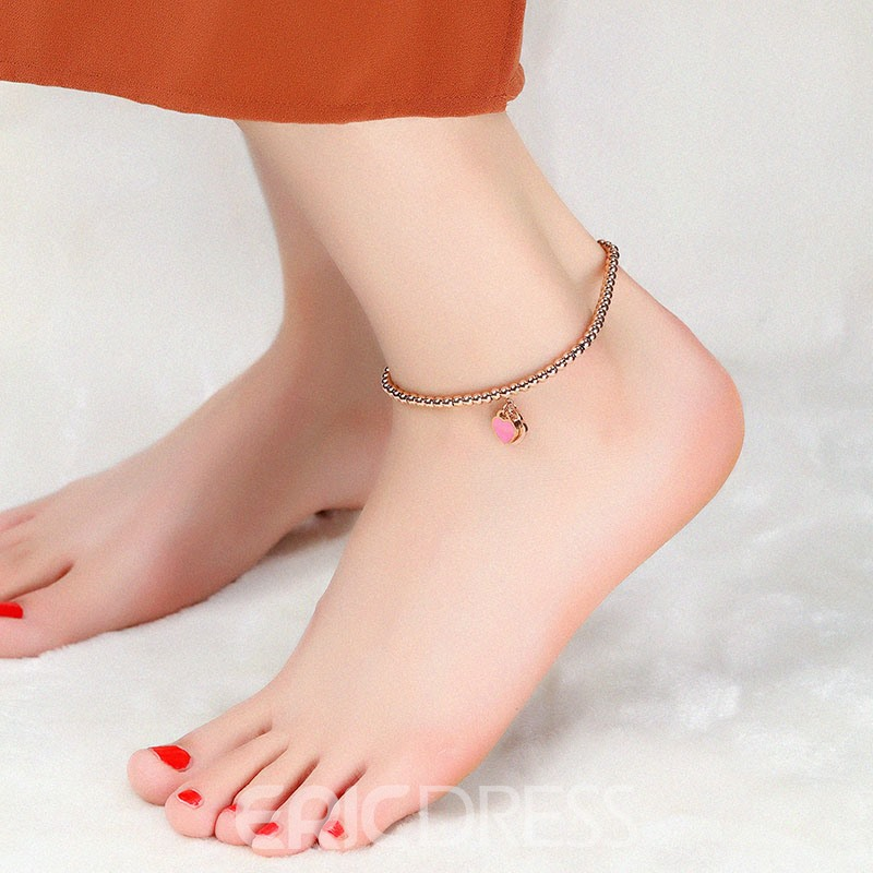 Ericdress Cute Heart Pendant Rose Gold Plating Women's Anklet