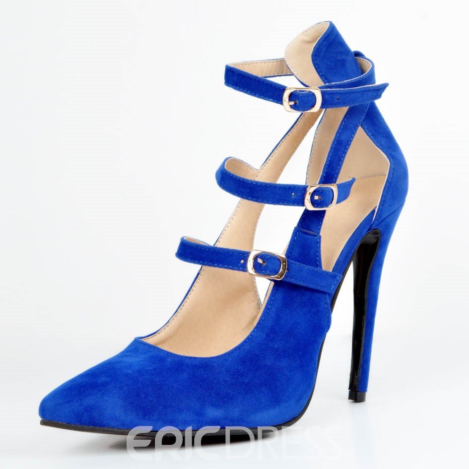 Ericdress Blue Pointed Toe Plain Stiletto Heel Pumps