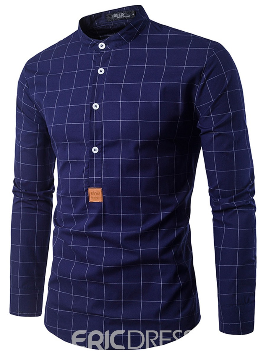 Ericdress Half Button Stand Collar Plaid Men's Shirt