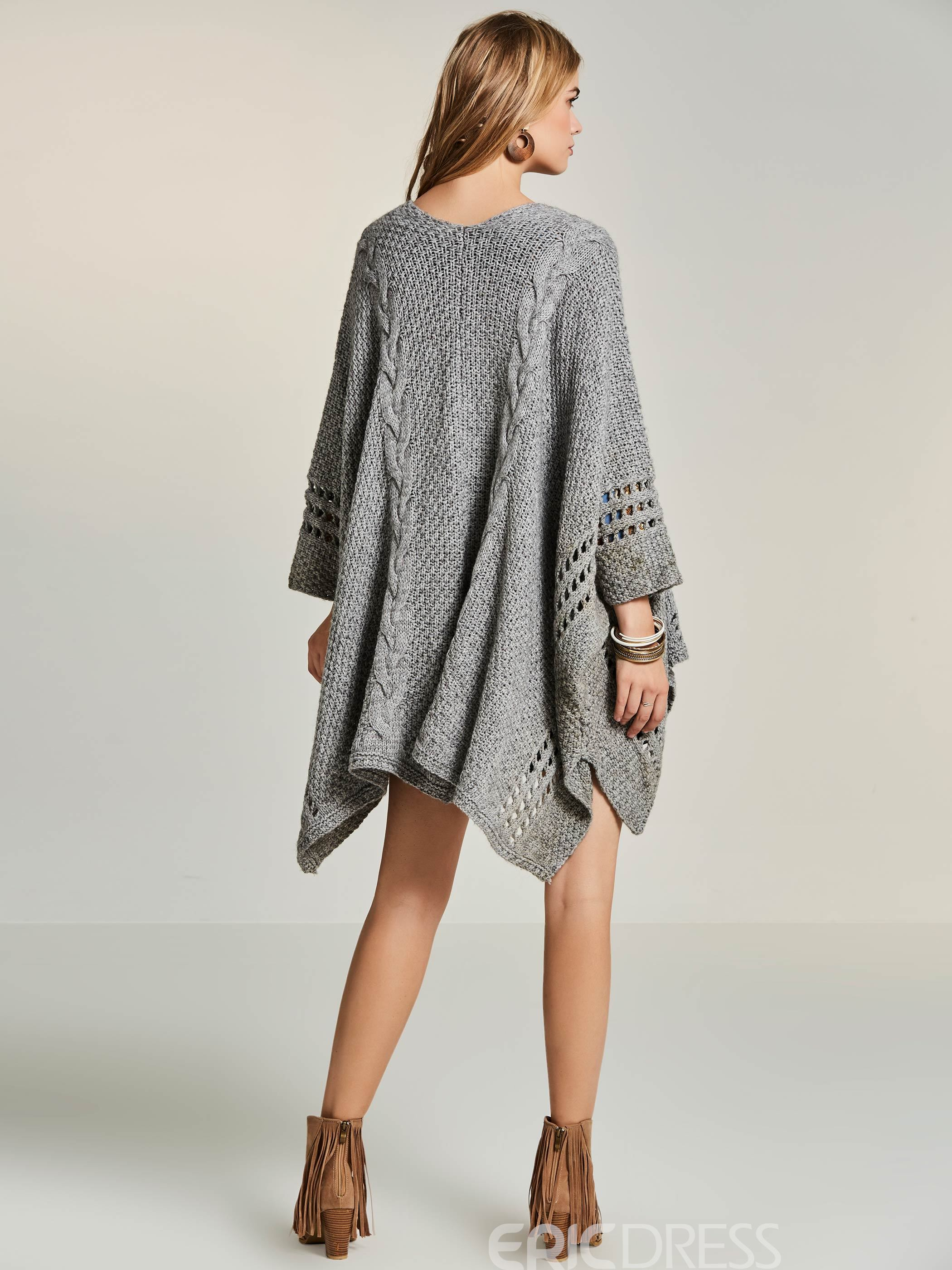 Ericdress Cape Hollow Plain Cardigan Knitwear