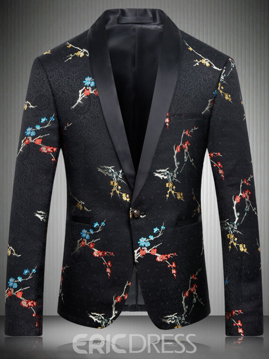 Ericdress One Button Lapel Slim Vogue Embroidery Men's Blazer