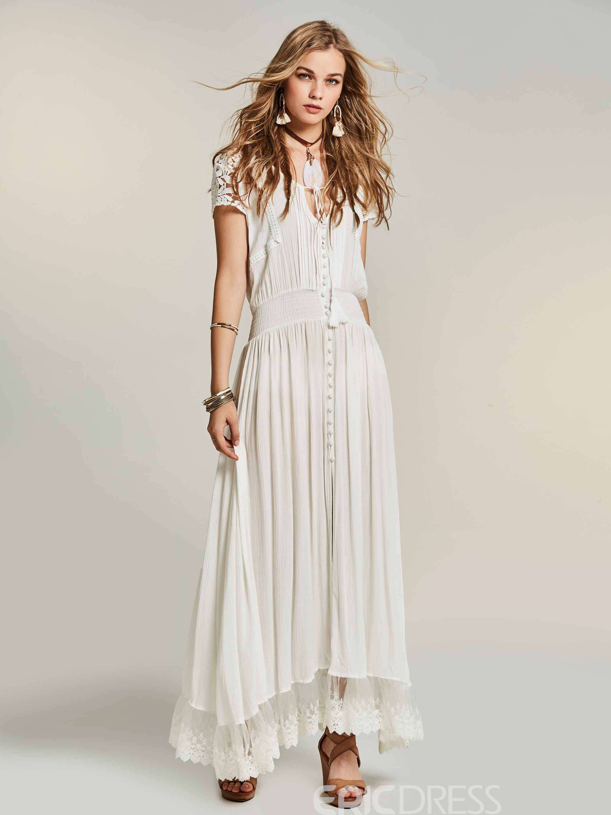 Ericdress Lace Hollow Single-Breasted Maxi Dress