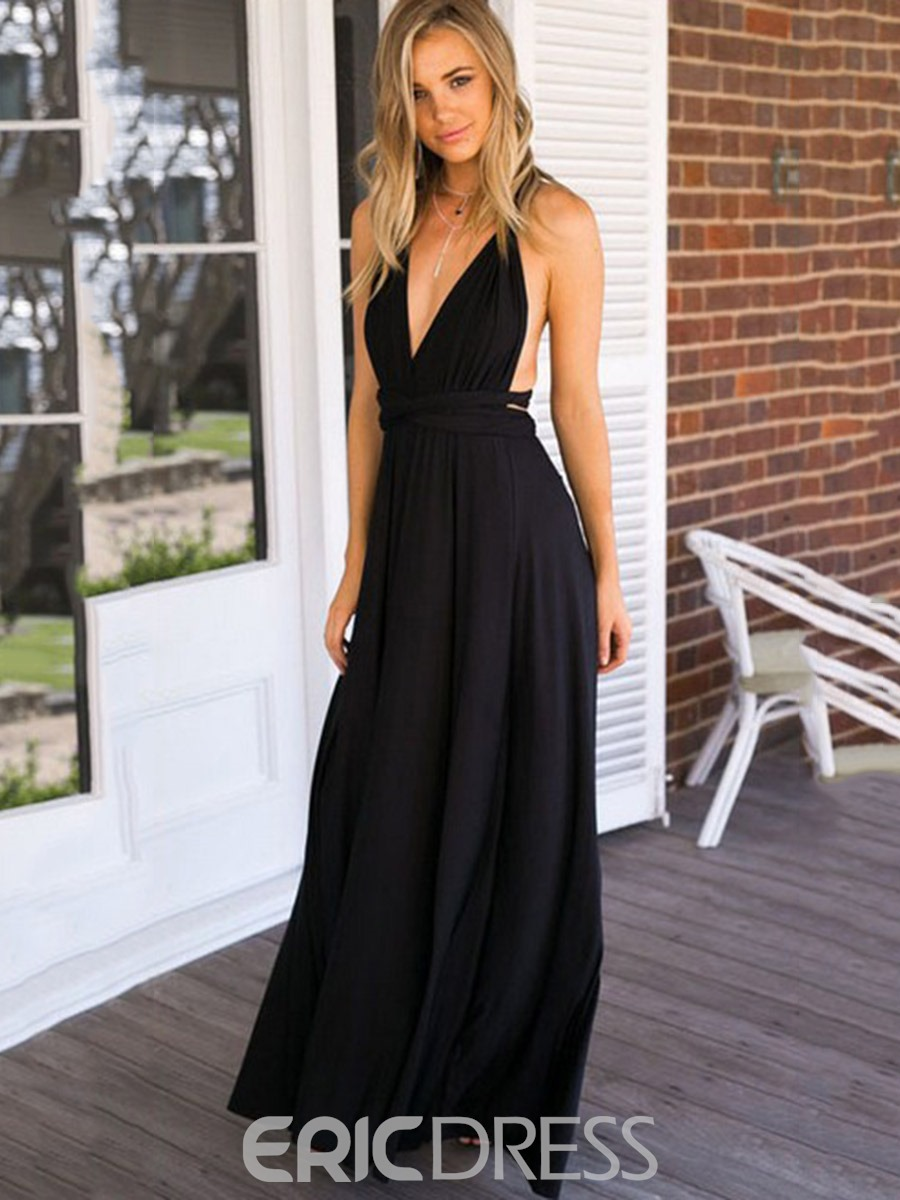 Ericdress Solid Color V-Neck Expansion Maxi Dress