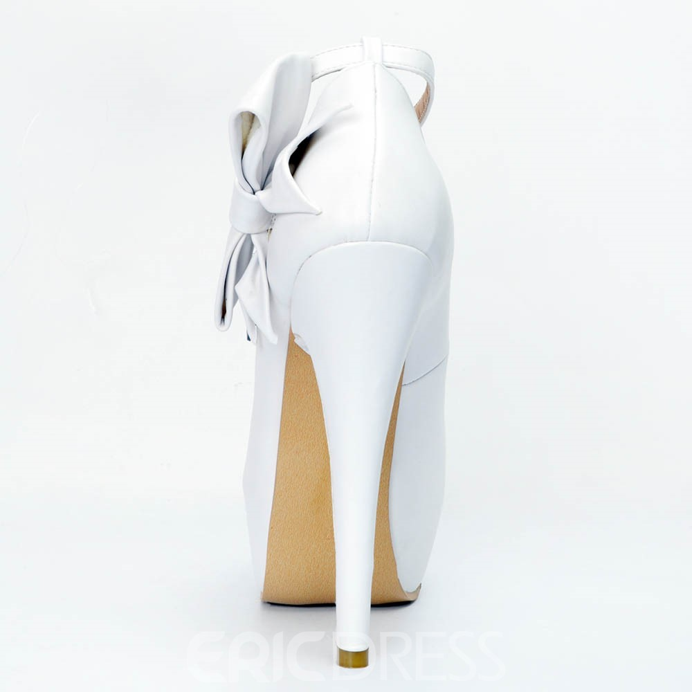 Ericdress Peep Toe Plain Stiletto Pumps with Bowknot