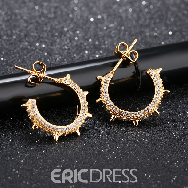 Ericdress Creative Rivet Diamante Stud Earring