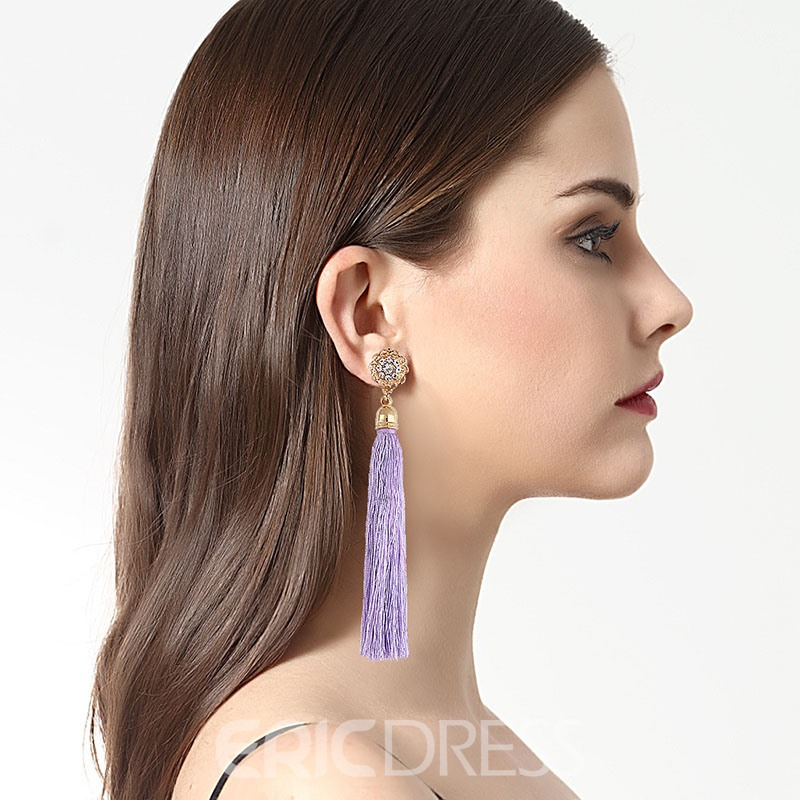 Ericdress Chic Tassel Alloy Diamante Ultra Violet Long Earring