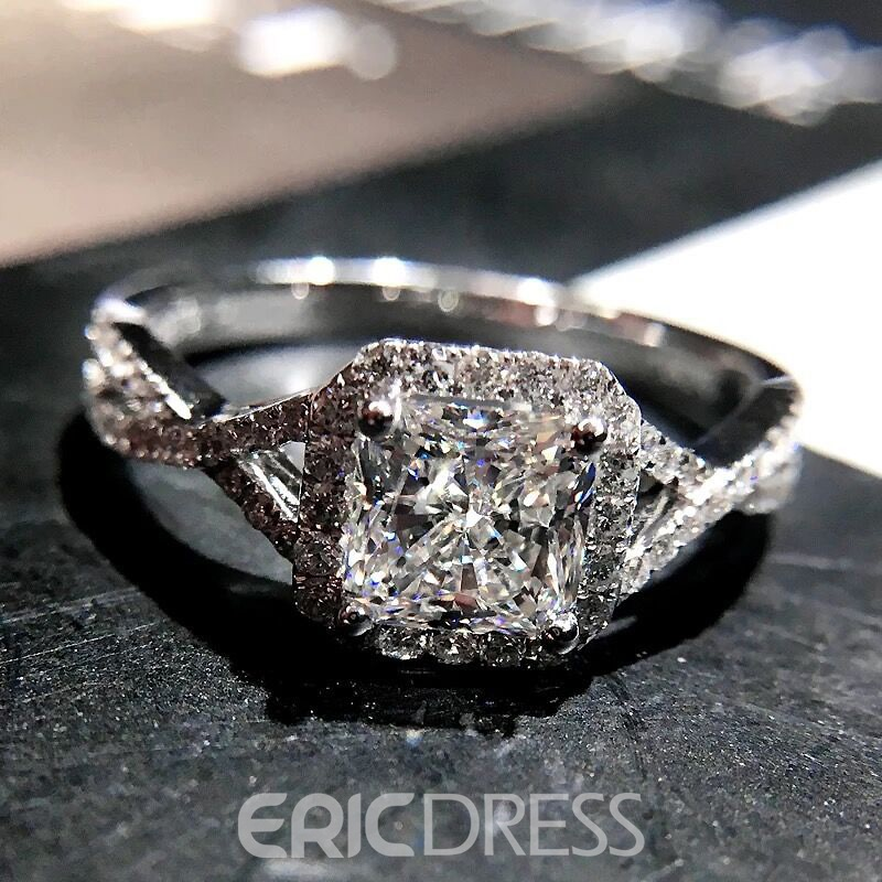 Ericdress Princess Cut White Sapphire Created Wedding Ring For Women