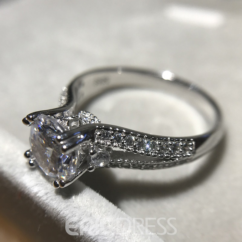 Ericdress Vintage Four-Claw S925 Silver Wedding Ring for Women