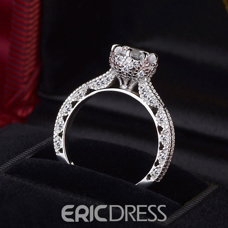 Ericdress Exquisite Hollow Out Fully Jewelled Women's Wedding Ring