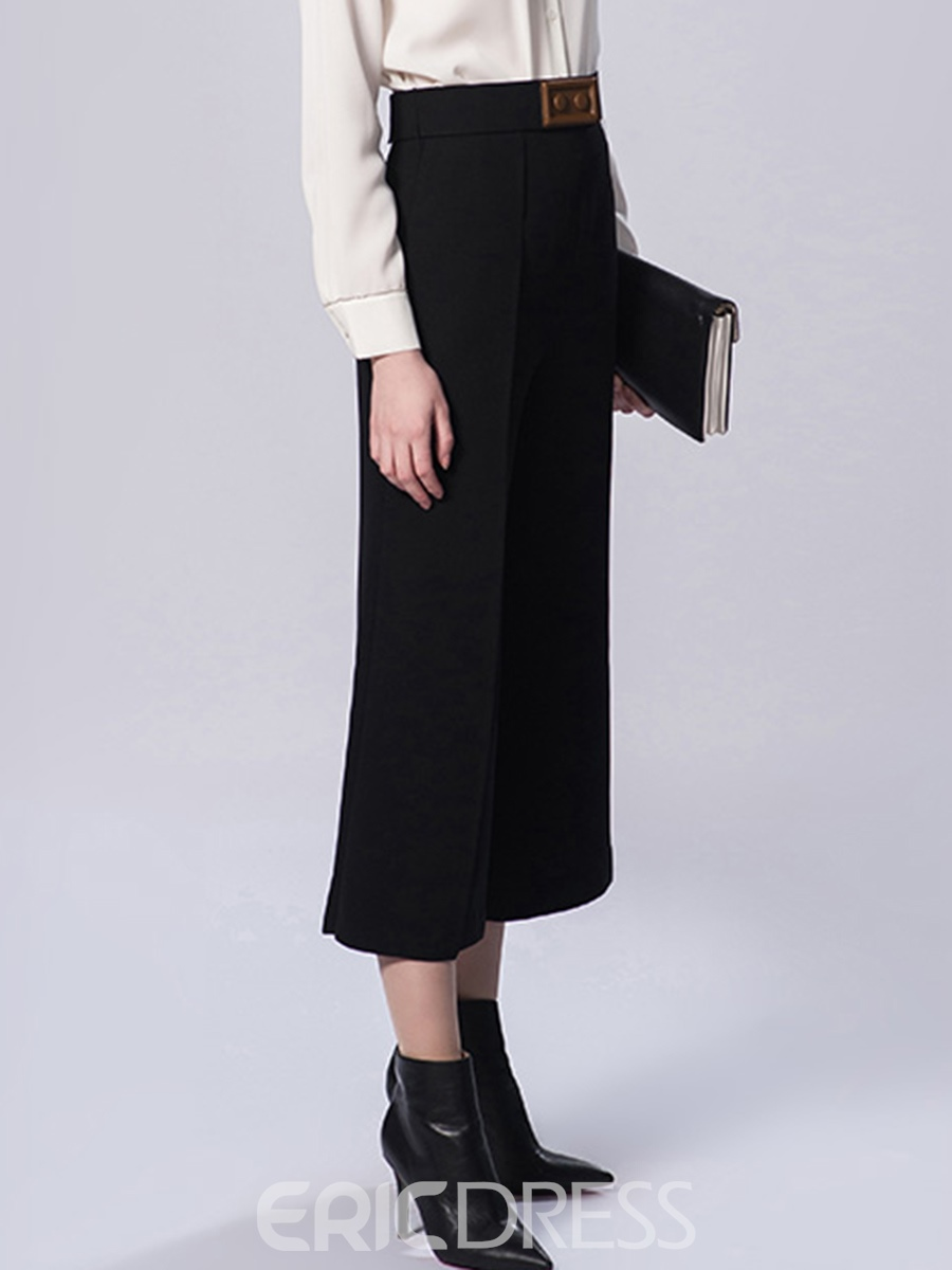 Ericdress Slim Ankle Length Wide Leg Women's Pants